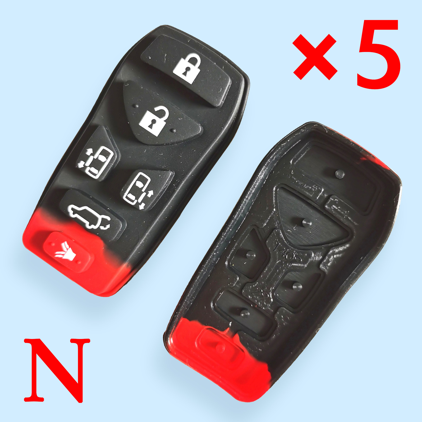 6 buttons Key Rubber Pad for Nissan - Pack of 5