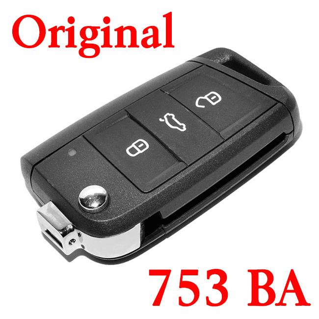 Original 434 MHz 3 Buttons Flip Remote Key for VW Golf Touran POLO ETC - 5G0 959 753 BA