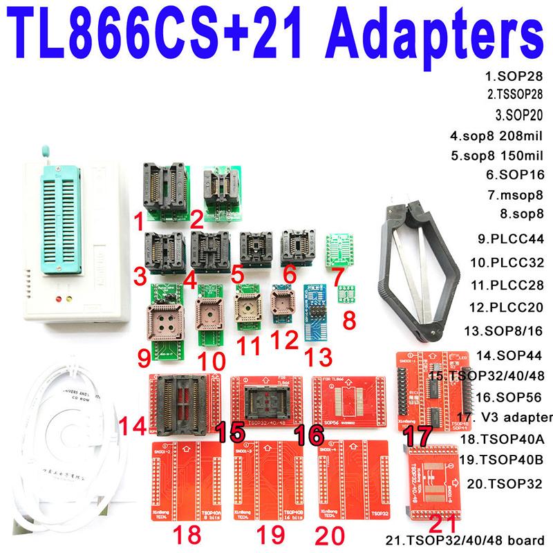 MINI Pro TL866CS USB Programmer with 21 pcs Full Adapters