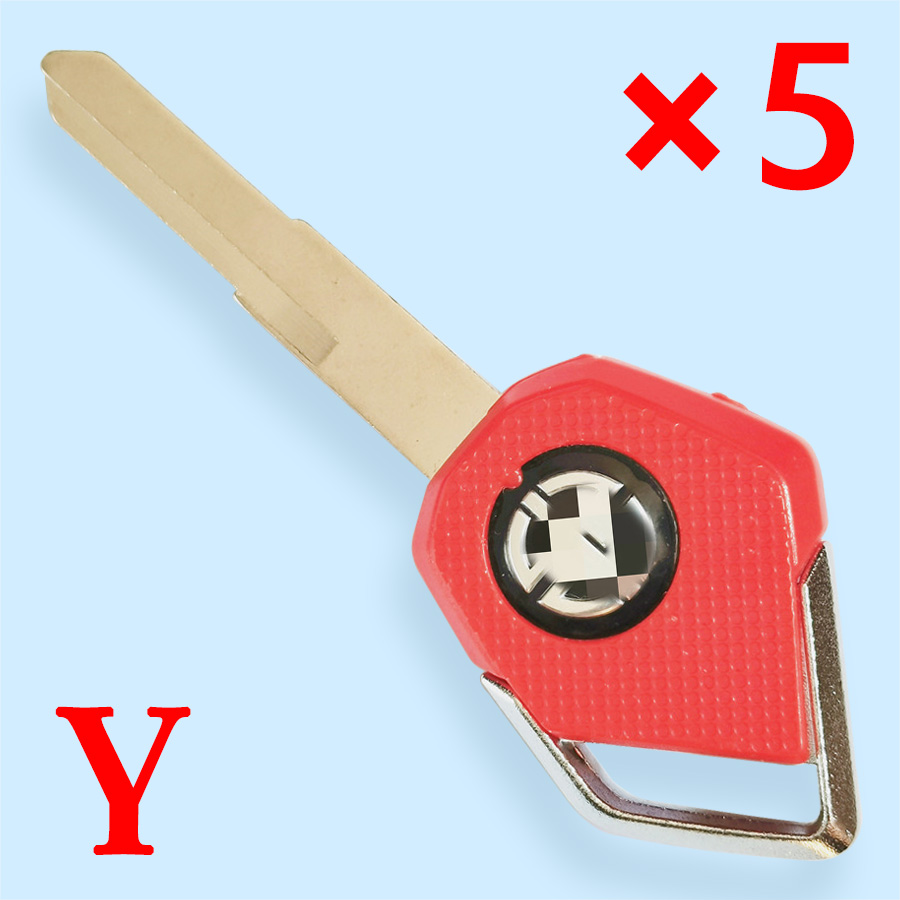Motorcycle Transponder Key Shell for Kawasaki Red- Pack of 5