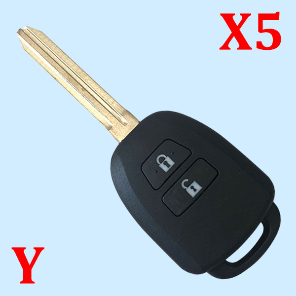 2 Buttons Remote Key Shell for Toyota Yaris - Pack of 5