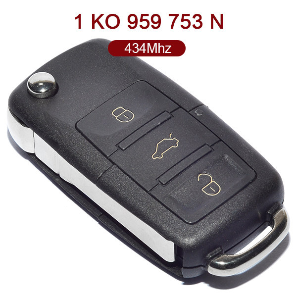 3 Buttons 434 MHz Flip Remote Key for VW Skoda Seat - 1K0 959 753N