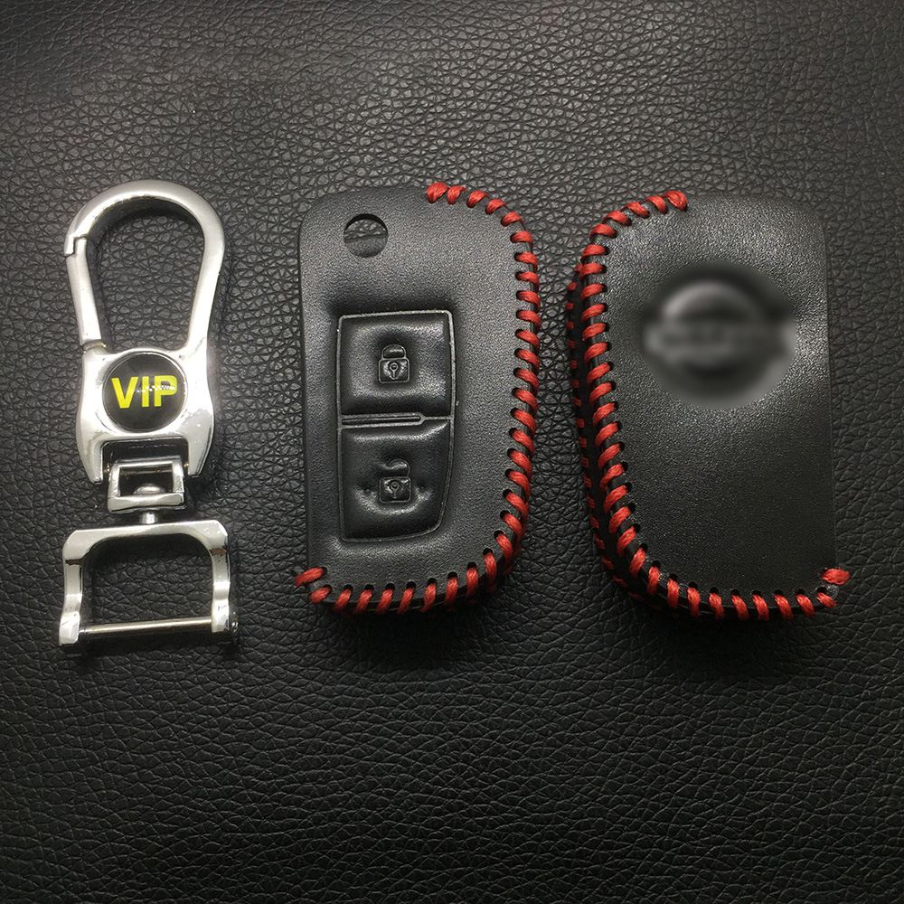 Leather Case for Nissan 2 Buttons Folding Car Key - 5 Sets
