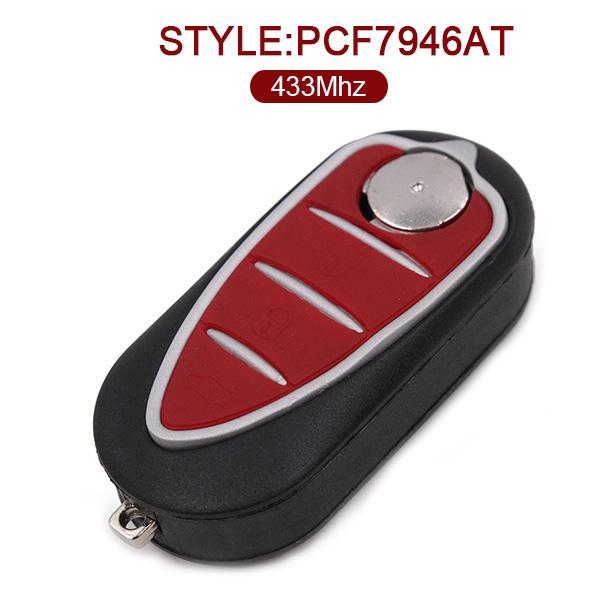 434 MHz Flip Remote Key Fob For Alfa Romeo Mito (Delphi) - PCF7946AT - 71765841