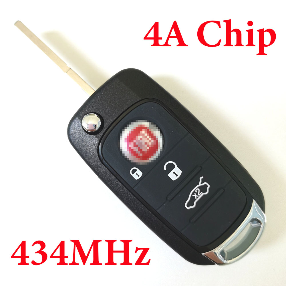 3 Buttons Remote Key with 4A Chip 434MHz with Original PCB Board for Fiat