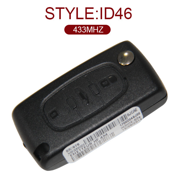 AK016002 Original for Citroen Flip Remote Key 3 Button 433MHz ID46 Without Groove