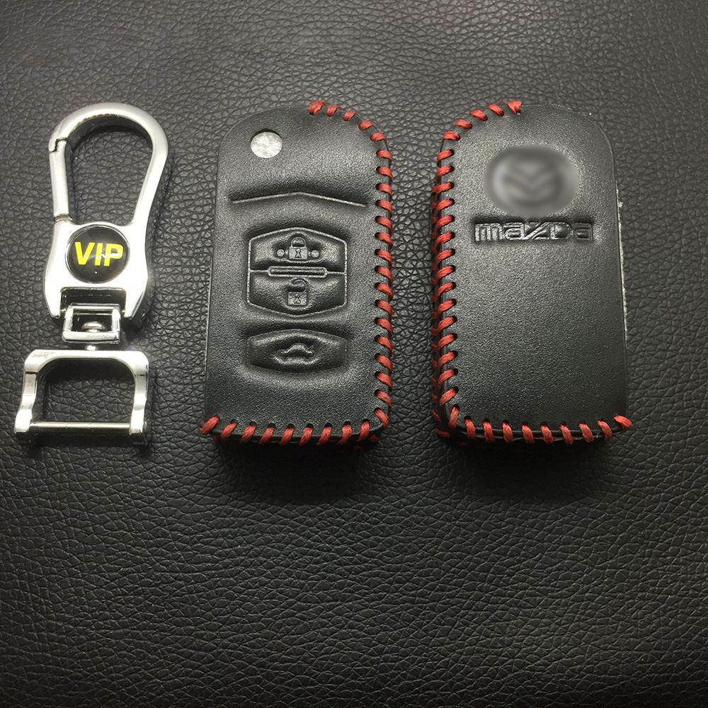 Leather Case for Mazda 3 Buttons Folding Car Key - 5 Sets