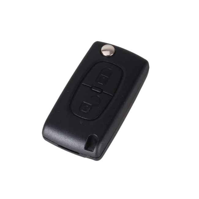 2 Buttons Key Shell with Battery Holder with Groove for Peugeot - Pack of 5