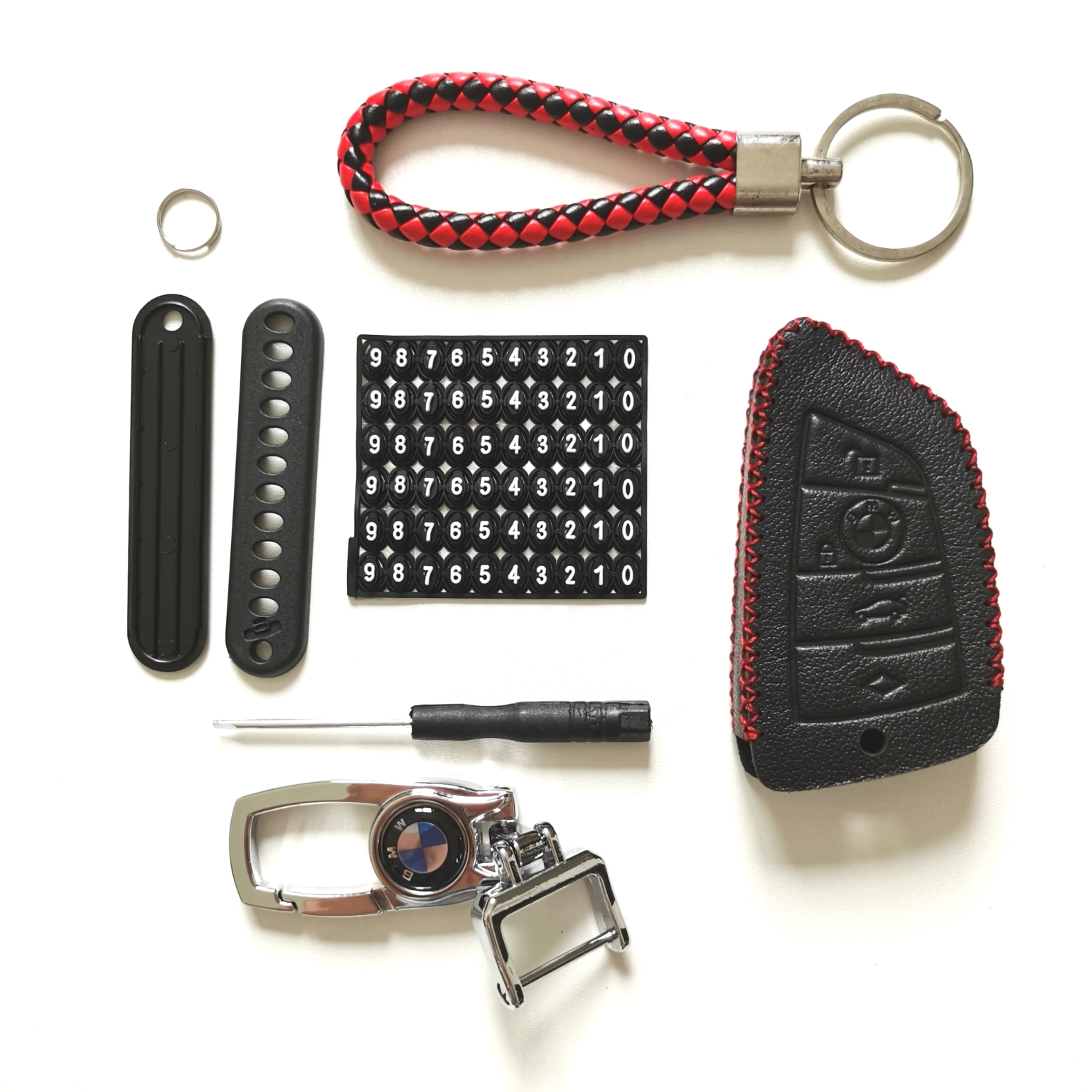 Leather Case for BMW Blade 4 Buttons Smart Card Car Key - 5 Sets