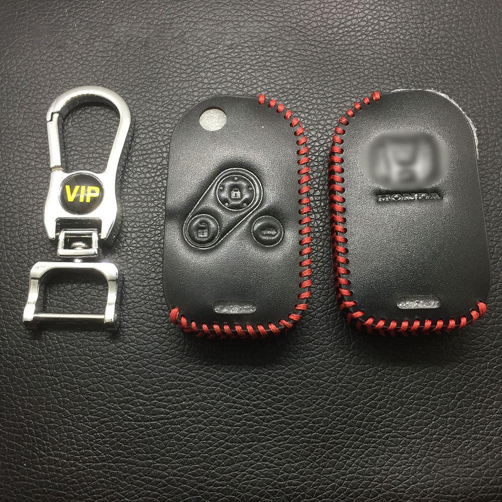 Leather Case for Honda 3 Buttons Round Key Folding Car Key - 5 Sets