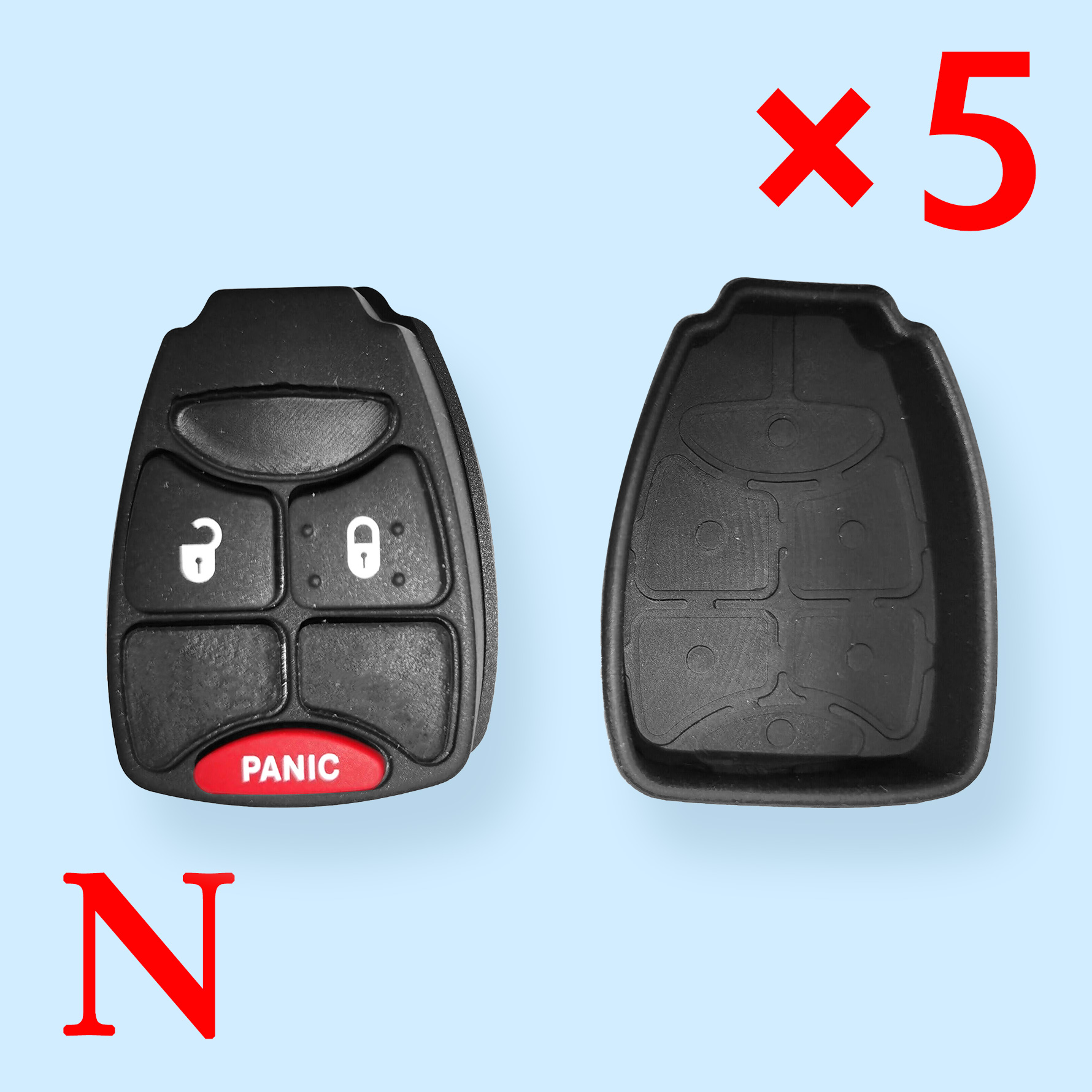 2 + 1 Buttons Rubber Pad for Chrysler Jeep Dodge - Pack of 5