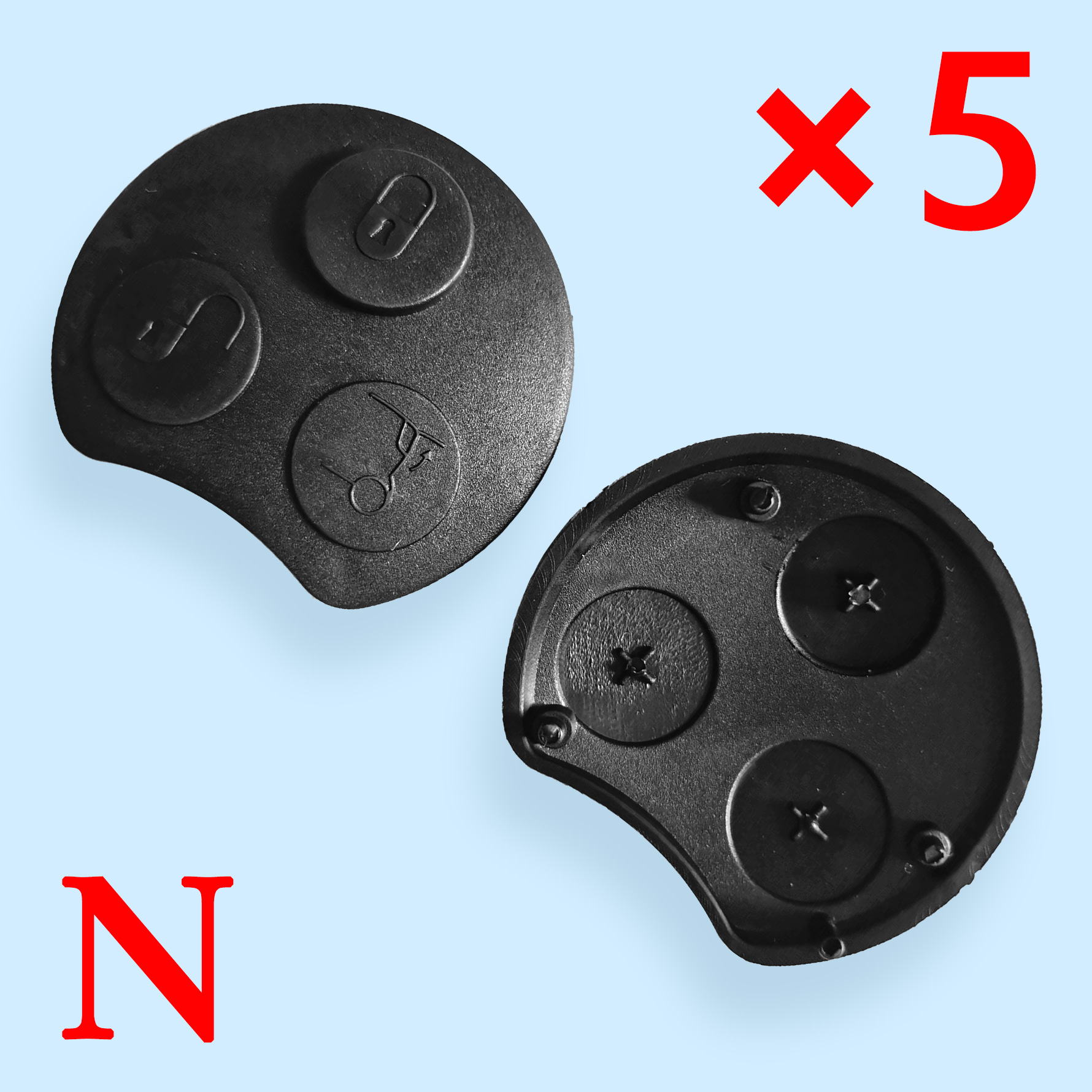 3 Buttons Key Shell Rubber Pad for Smart 10 pcs