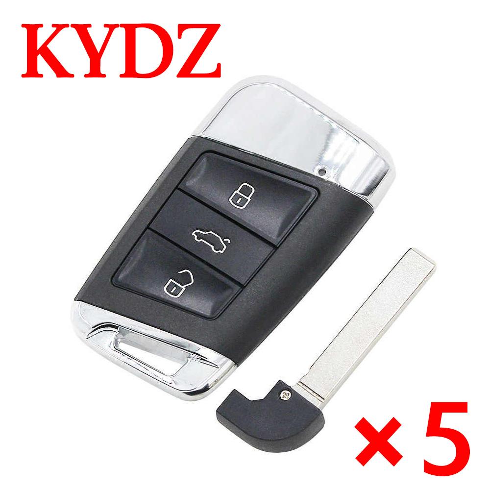 KYDZ 3 Buttons Smart Remote Key for Volkswagen Magotan B8- Pack of 5