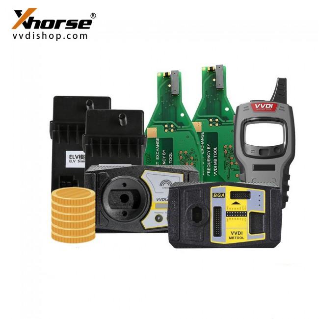 Xhorse VVDI2 Full + VVDI MB Tool + 1 Year Unlimited Tokens+Mini Key Tool +2 pcs FBS3 Keyless + 2 pcs ELV Emulator