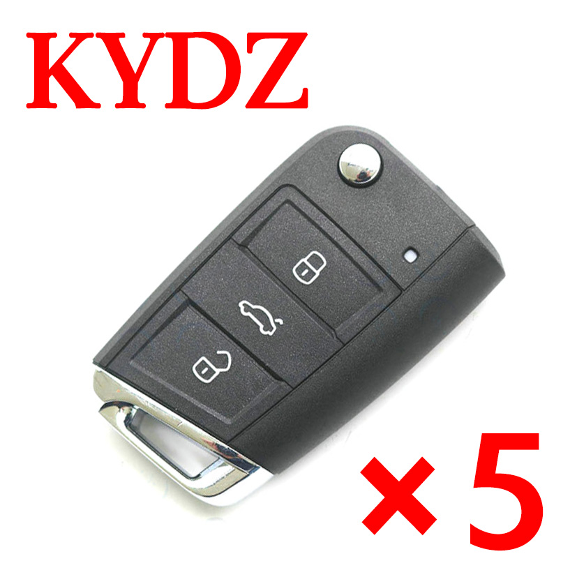 KYDZ Volkswagen MQB Folding Smart key Generative MQB-style remote control 3 Buttons - Pack of 5