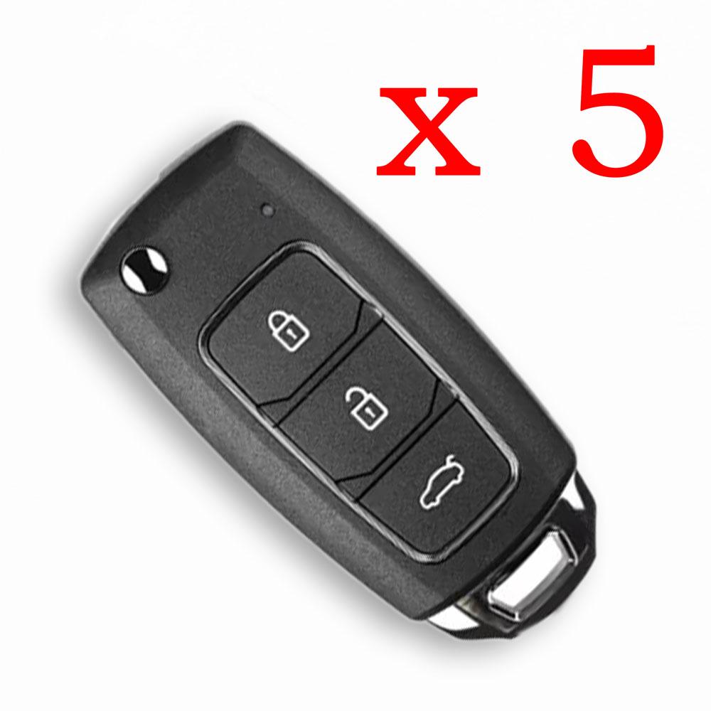 5pcs/lot Xhorse XKHY05EN HYU.D style Wired Universal Remote Key Fob 3 Button for VVDI Key Tool (English Version)
