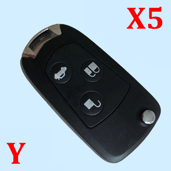 New uncut the blank 3 Buttons Modified Folding Remote Key Flip Fob Shell For FORD FOCUS MONDEO Fiesta 5 pcs