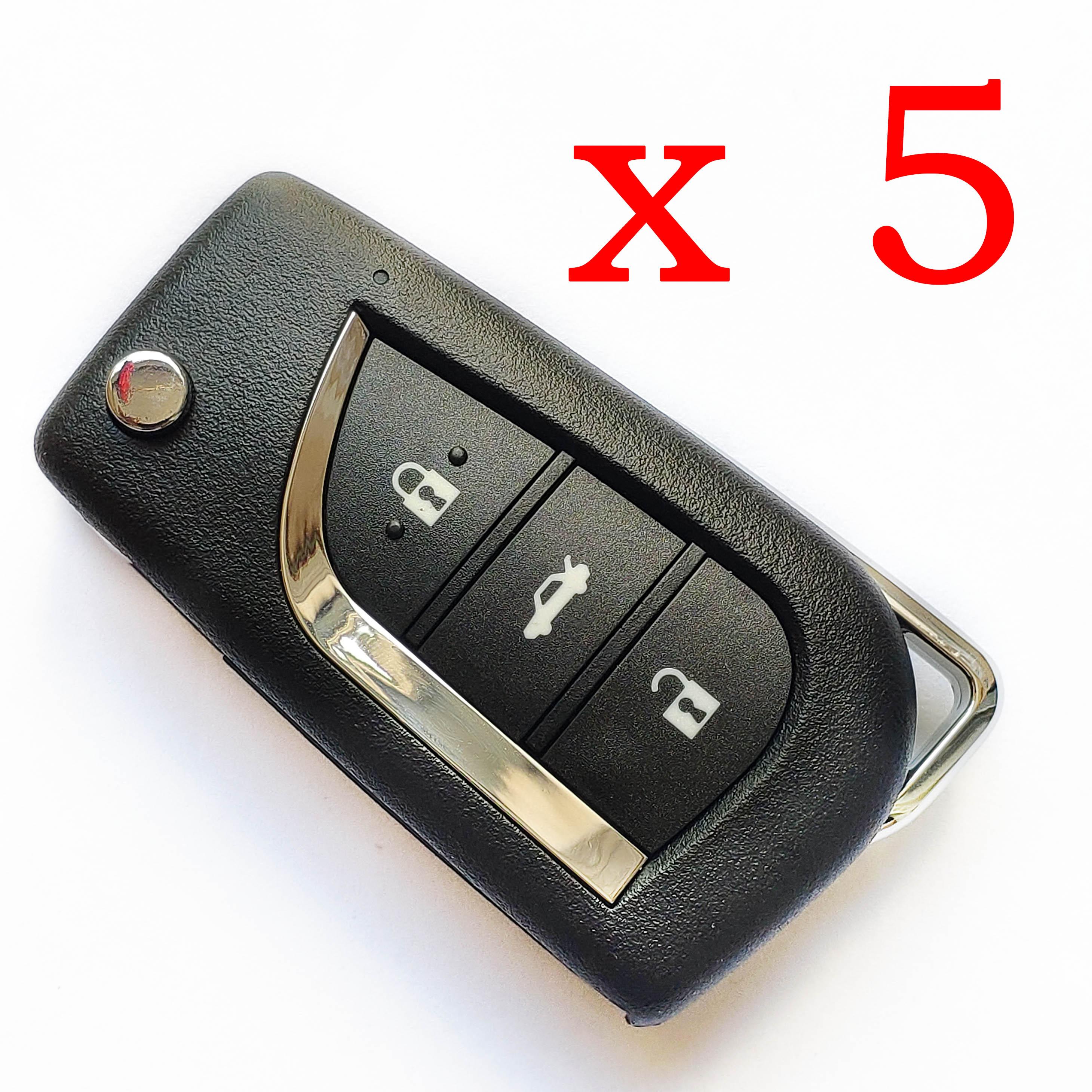 5 pieces Xhorse VVDI Toyota Type Universal Remote Control 3 Buttons - XKTO00EN