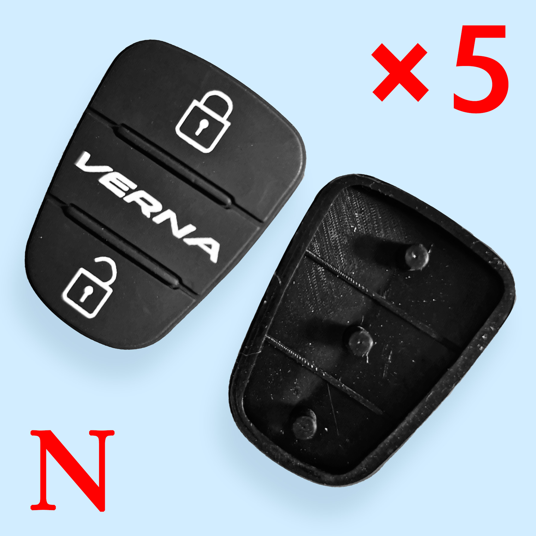 3 Buttons Rubber Pad for Hyundai  - 5pcs