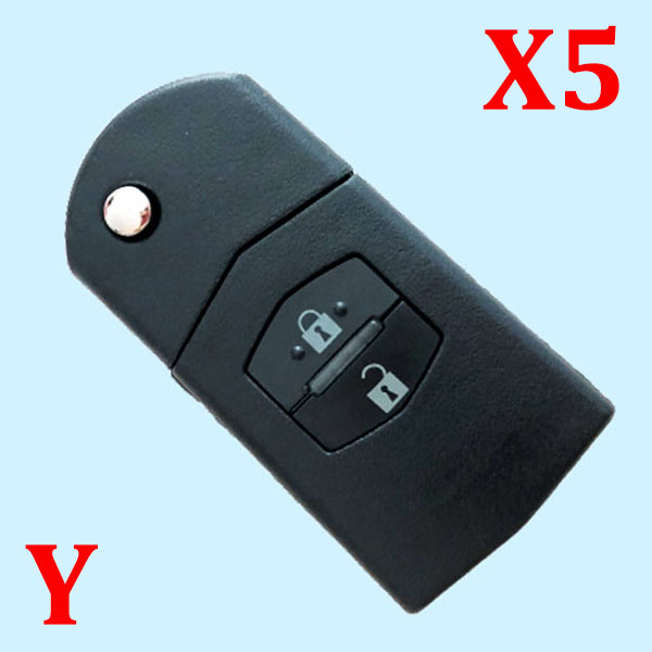 2 Buttons Flip Remote Car Key Case key shell for Mazda - Pack of 5