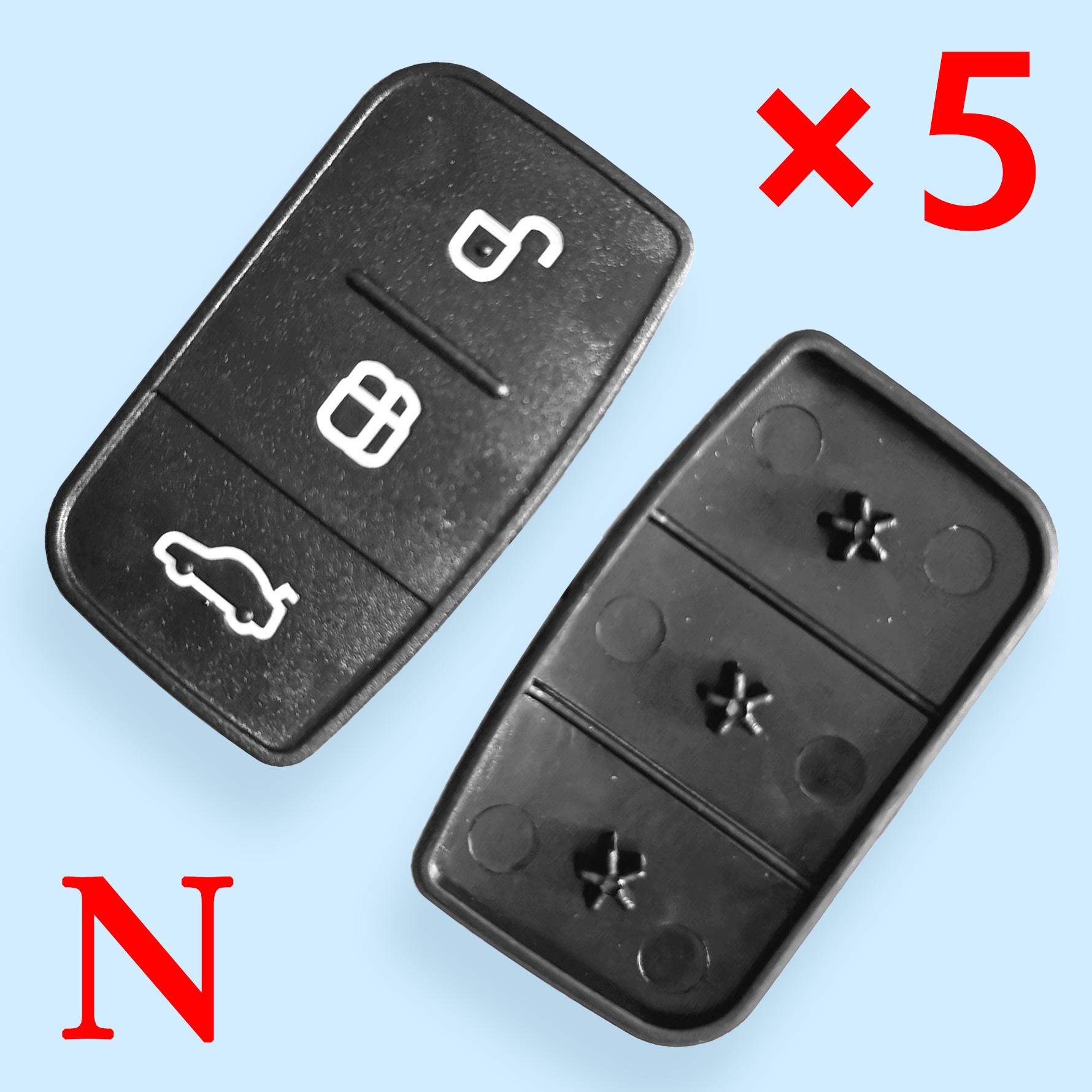 3 Buttons Key Shell Cover for Ford - Pack of 5