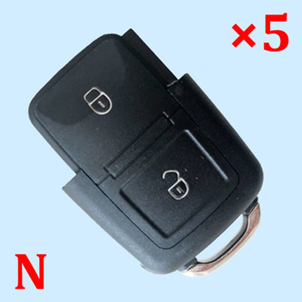 2 Buttons Key Shell for VW - Pack of 5