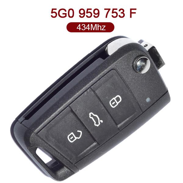 Original 3 Buttons 434 MHz Flip Remote Key for VW Gol7 -  5G0 959 753 F