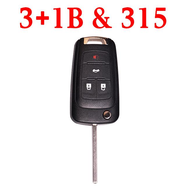 315 MHz 3+1 Buttons Flip Proximity Key for 2010-2017 Chevrolet Camaro Cruz Equinox Impala Malibu Sonic