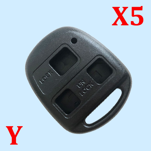 2 Buttons Remote Key Shell TOY40 for Toyota Long Blade - Pack of 5