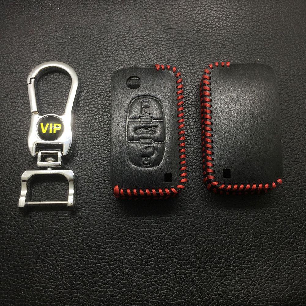 Leather Case for Peugeot Citroen Old 3 Buttons Folding Car Key - 5 Sets