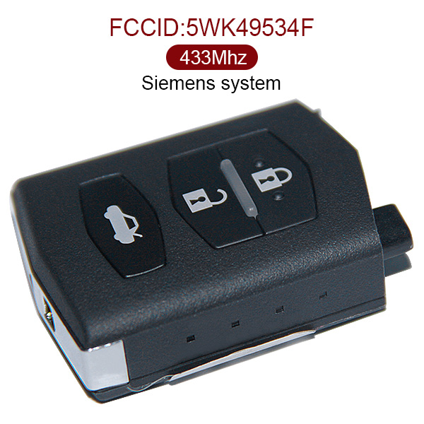 AK026001 3 Button Remote Key 433MHz Siemens System for Mazda