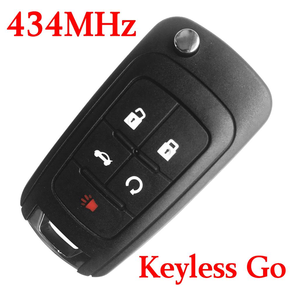 4+1 Buttons  434 MHz Flip Proximity Smart Key for Chevrolet - Keyless Go