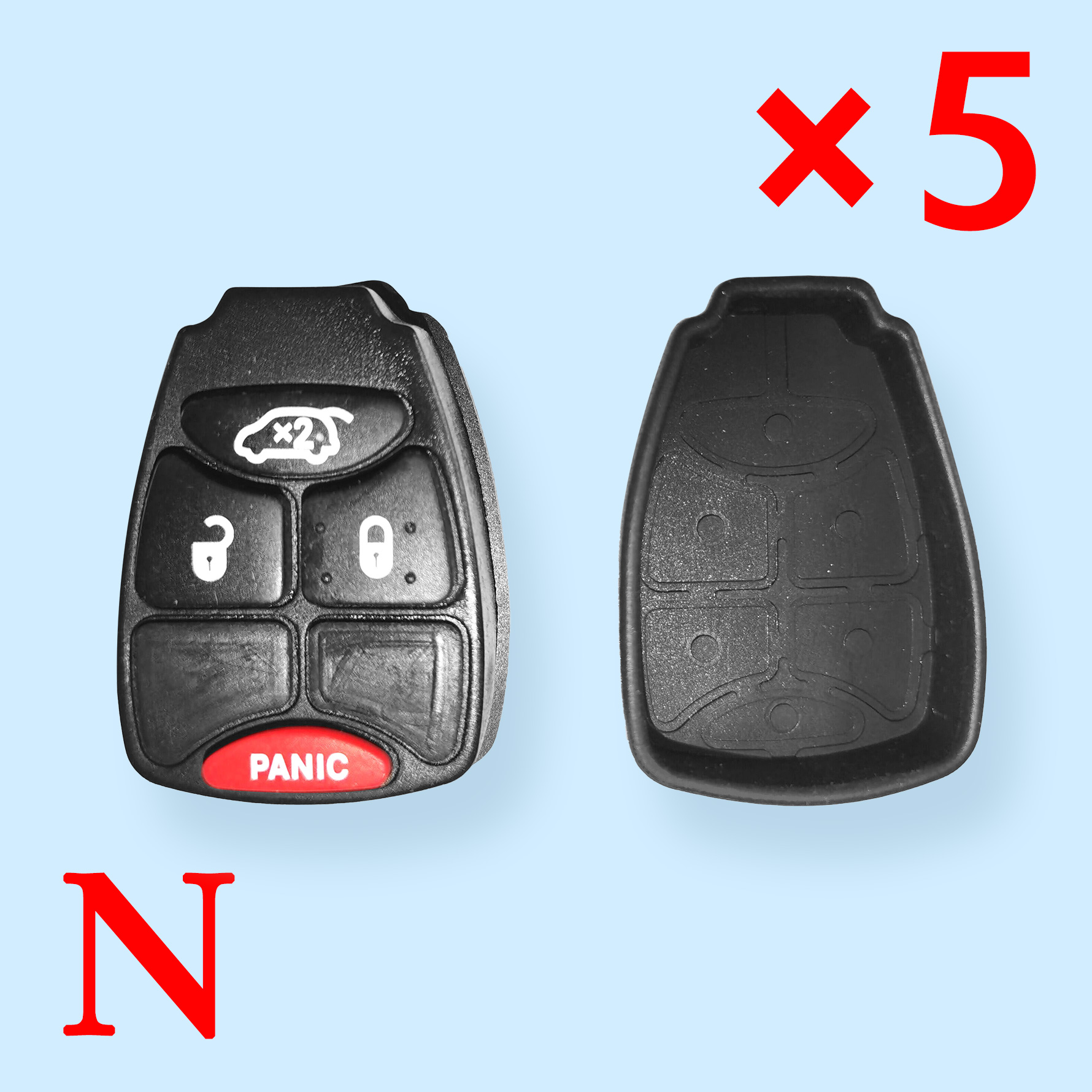 3 + 1 Buttons Rubber Pad for Chrysler Jeep Dodge - Pack of 5