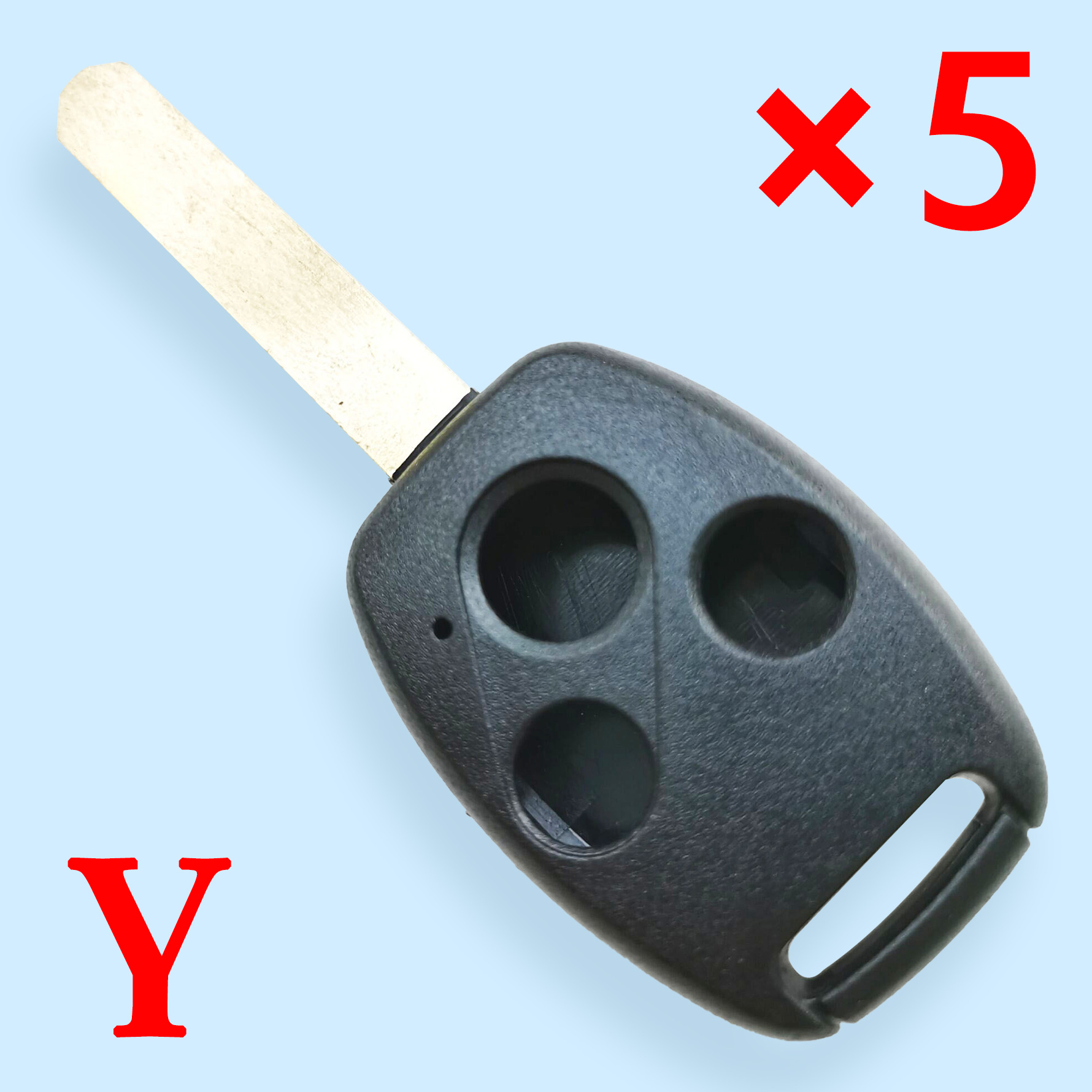 3 Buttons Key Shell with Chip Slot for Honda - Pack of 5