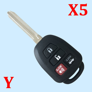 4 Buttons Remote Key Shell for Toyota - Pack of 5