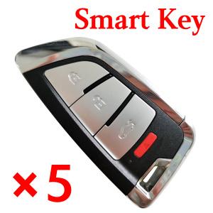 5 pieces Xhorse VVDI Universal Smart Keyless Go Key - 3+1 Butoons - XSKF20EN