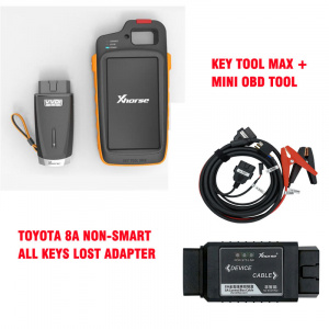 VVDI Key Tool Max + MINI OBD Tool + Toyota 8A All Keys Lost Adapter + Renew Cable