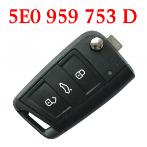 Original 3 Buttons 434 MHz MQB Flip Remote Key for Skoda Octavia 2012-2018  - 5E0 959 753 D ( 5E0 959 752 )