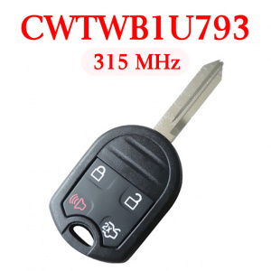 315 MHz 4 Buttons Remote Head Key for 2011-2015 Ford - CWTWB1U793 ( with 4D63 80 bit chip)