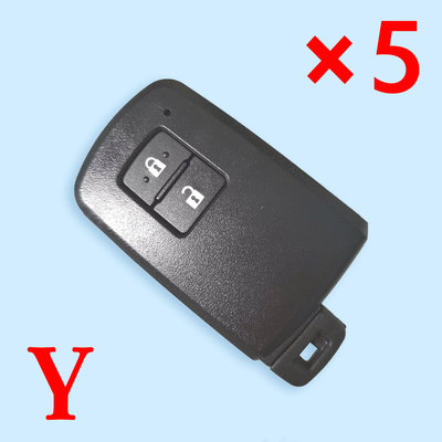 2 Buttons Smart Key Shell for Toyota - Suitable for Xhorse VVDI PCB - Pack of 5
