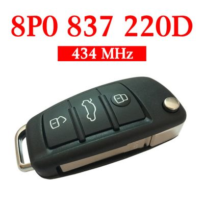 Original 434 MHz Flip Remote Key for Audi TT A3 - 8P0 837 220D