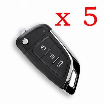 5 Pieces Xhorse 3 Buttons XKKF03EN Flip Type Universal Wire Remote Key Fob Knife Style for VVDI Key Tool VVDI2