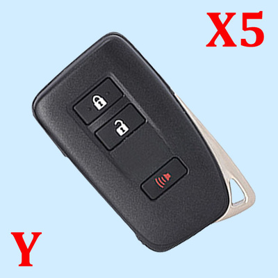 ( Type 4 ) 2+1 Buttons Smart Key Shell for Toyota - Suitable for VVDI Smart Key PCB - Pack of 5