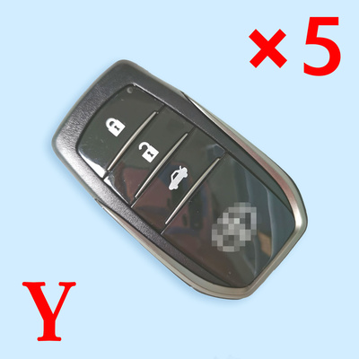 3 Buttons Smart Key Shell for Toyota - Pack of 5