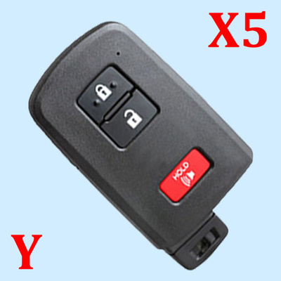 ( Type 13)2+1 Buttons Smart Key Shell for Toyota - Pack of 5
