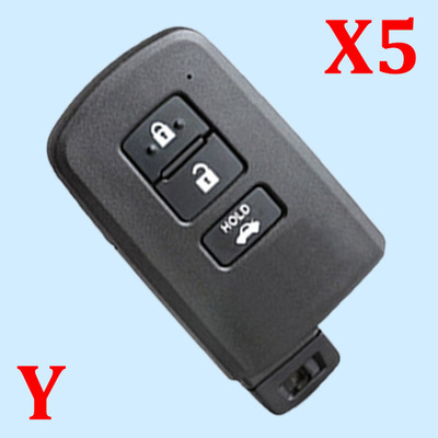 ( Type 14 ) 3 Buttons Smart Key Shell for Toyota - Pack of 5