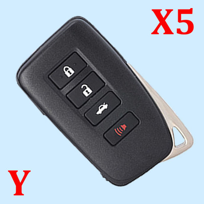 ( Type 2 ) 3+1 Buttons Smart Key Shell for Toyota - Suitable for VVDI Toyota PCB Board - Pack of 5