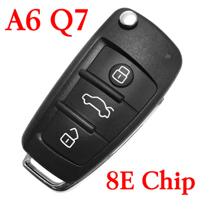 3 Buttons 434 MHz Flip Remote Key for Audi A6 Q7 - with 8E Chip