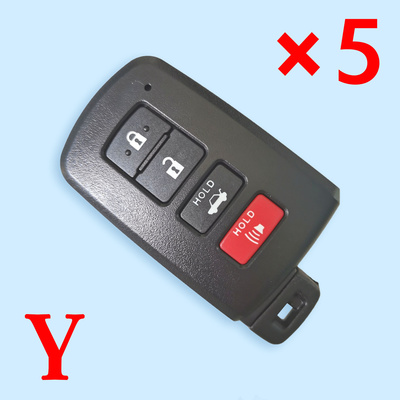 3+1 Buttons Smart Key Shell for Toyota - Pack of 5