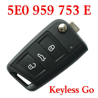 Original 3 Buttons 434 MHz MQB Type Flip Proximity Smart Key for Skoda Octavia 2012-2018 - 5E0 959 753 E (5E0 959 752 A)